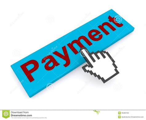 Pay Online - cursor hand and payment button stock illustration image 35284163