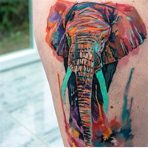 watercolor elephant tattoo watercolor colorful elephant best ideas