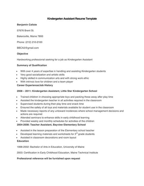 Kindergarten Assistant Sle Resume by Resume Kindergarten Assistant 28 Images Sle Assistant Resume 8 Exles In Word Pdf Assistant