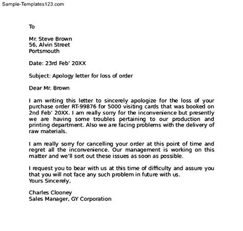 Acknowledgement Letter Apology Apology Letter For Mistake In Order Sle Templates