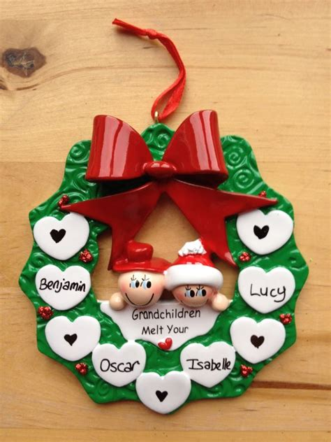grandparents holly wreath personalised christmas tree
