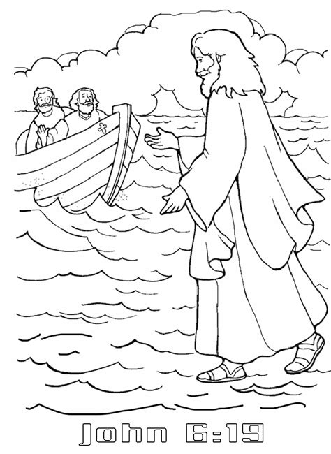Coloring Page Water by Jesus Walks On Water