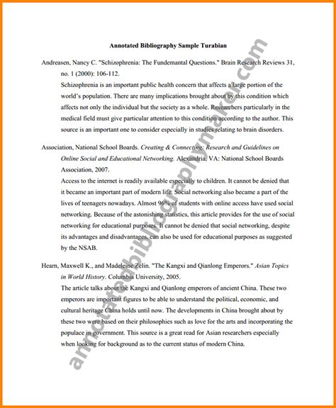 exles of a bibliography for a research paper sle of annotated bibliography paper turabian sle png
