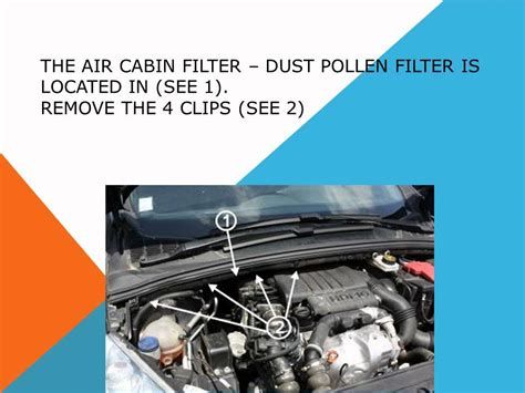 peugeot 307 pollen filter how to replace the air cabin filter dust pollen filter on