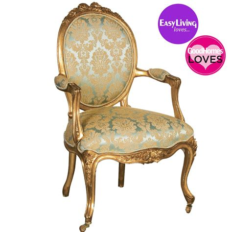 Versailles Damask Gold Armchair French Bedroom Company