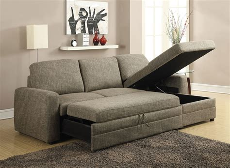 Sectional Sofa With Storage Derwyn Light Brown Linen Sectional Sofa Pull Out Bed W Chaise Storage