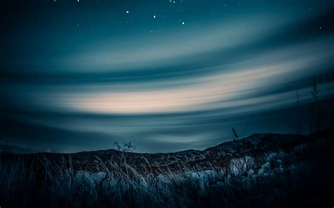 wallpaper  starry sky horizon night