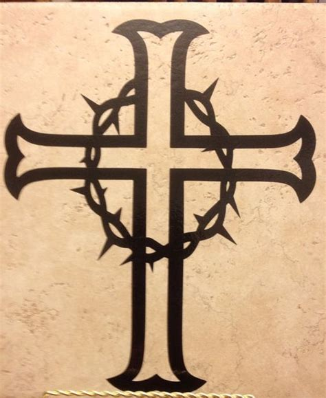 cross tattoo with crown of thorns cross with crown of thorns decal by 3blessedchix on etsy