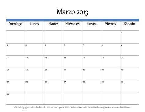 Calendario De Marzo Calendario Marzo 2013 Universo Guia