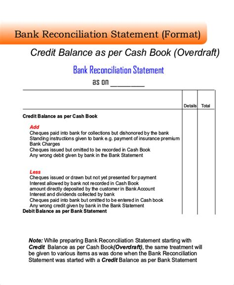 bank reconciliation form doc 460595 bank reconciliation template bank