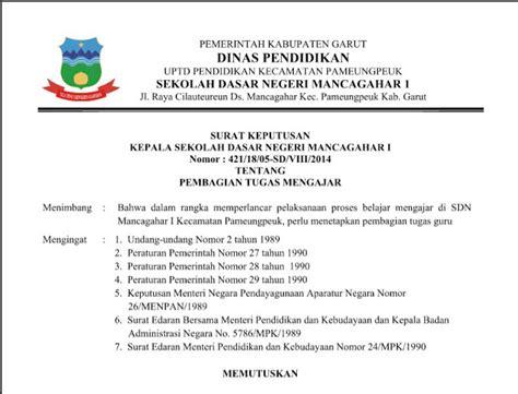 kumpulan contoh surat keputusan sk kepala sekolah