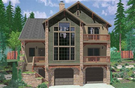 house plan plans for sloping hillside with walkout