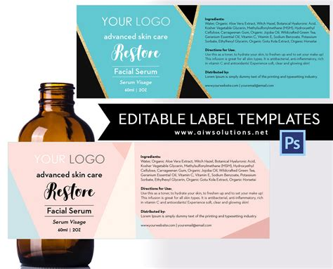 Serum Label Template Id18 Aiwsolutions Lotion Labels Templates