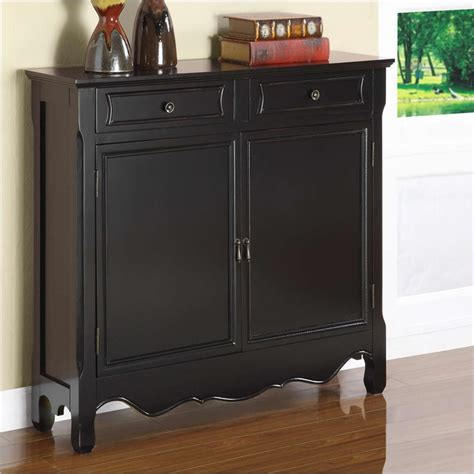 powell furniture black 2 dr storage cabinet console table