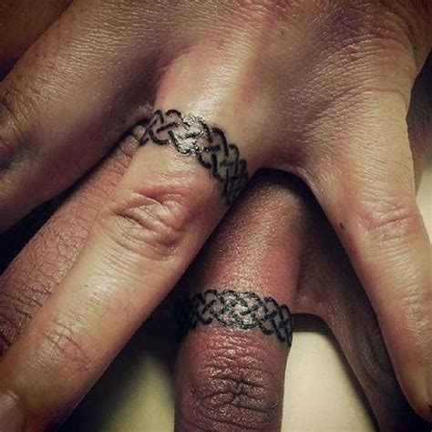 Wedding Ring Tattoo Ideas Amazing Designs For Couples Wedding Ring Tattoos Pics