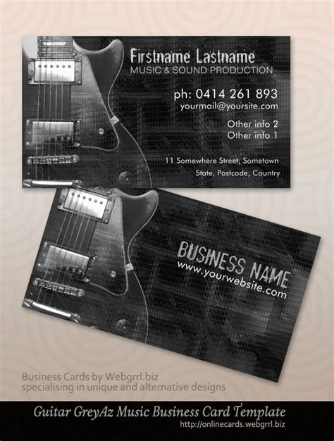 Guitar Business Card Template Free by Grey Az Electric Guitar Business Cards By