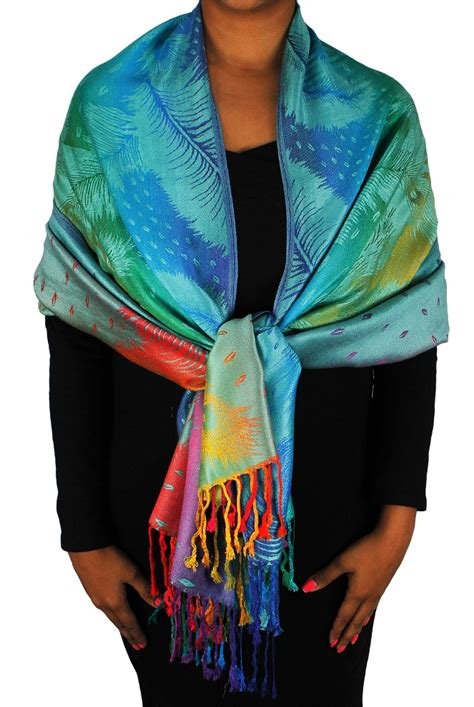 Pashmina Rainbow teal pashmina wholesale scarf