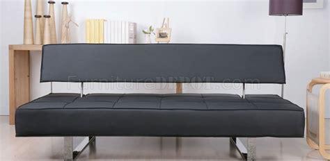 black leatherette modern convertible sofa bed w chrome