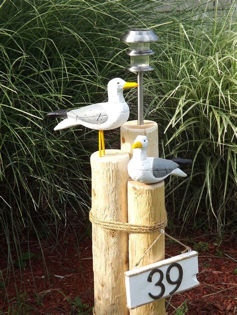 seagull landscape lighting nautical lawn piling with seagulls solar light and