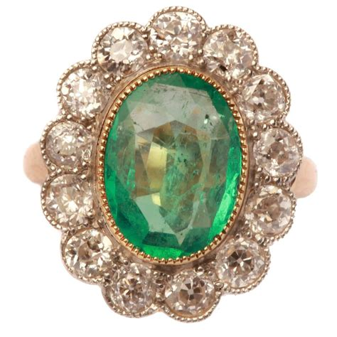 antique emerald gold platinum ring for sale at 1stdibs