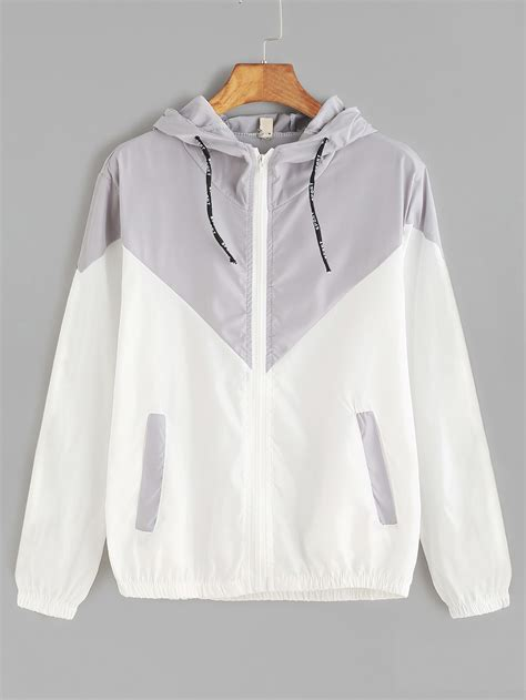 Drawstring Hooded Jacket contrast zip up drawstring hooded jacketfor romwe