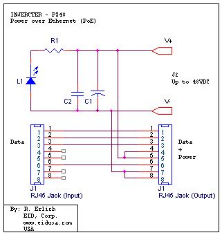poe circuit diagram interface board poe injecter and taper