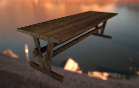 Wooden Table L Wooden Table Free 3d Model Obj Free3d