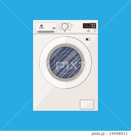 Washing In Style by Modern White Washing Machine In Flat Styleのイラスト素材