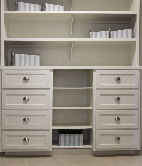 Drawer For Closet by Closet Storage With White Shaker Style Drawer Fronts