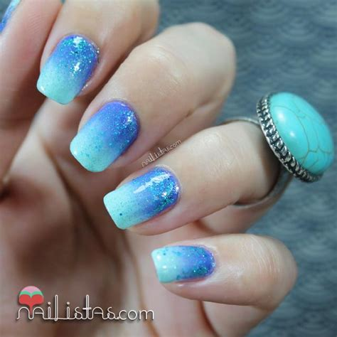 imagenes de uñas decoradas color turquesa u 241 as decoradas con degradado turquesa y purpurina reto