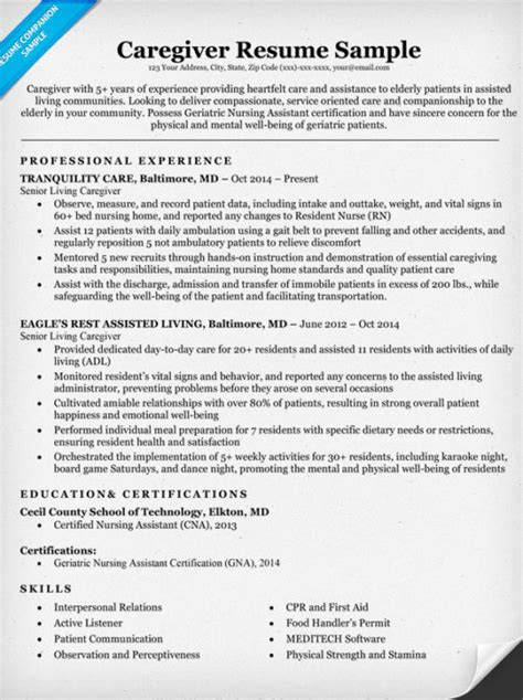 Caregiver Resume Exle by Caregiver Resume Sle Writing Tips Resume Companion