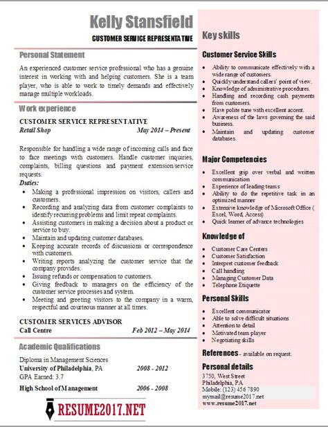 Sle Curriculum Vitae For A Customer Service Representative Pdf Personal Statement Customer Service Resume Book Personal Statement Cv