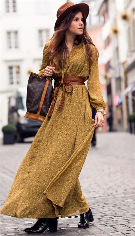 classic boho chic lady of style bohemian winter by the fashion fraction yellow mustard