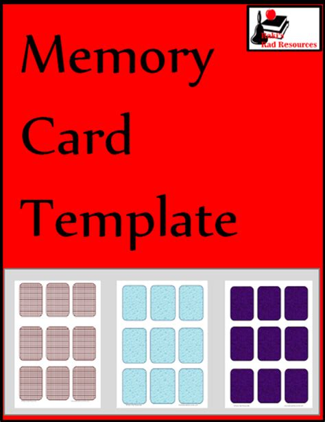 Memory Card Template memory card template from raki s rad resources classroom