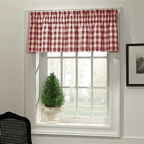 Classic Check Valance in Red   Bed Bath & Beyond