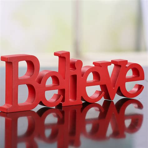 wood quot believe quot standing word sign signs ornaments