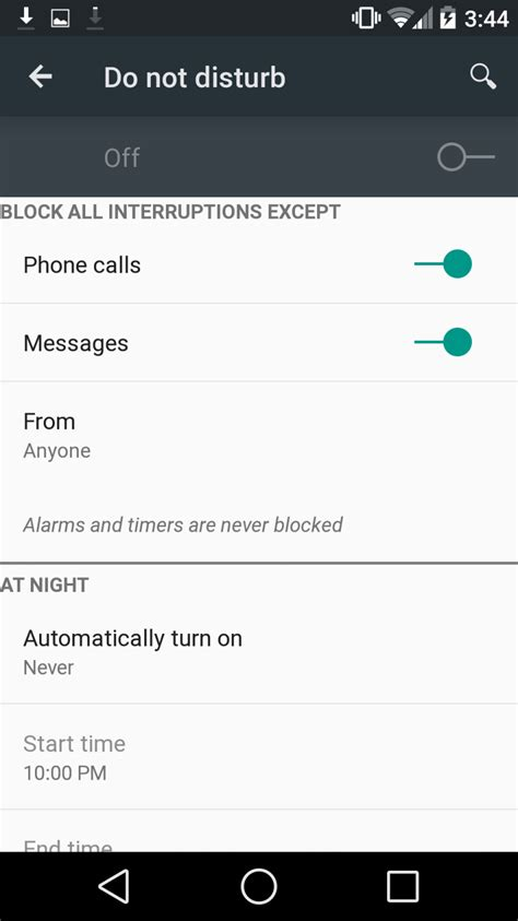 Android Do Not Disturb by Android L Developer Preview On