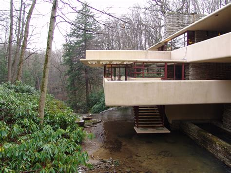 frank lloyd wright waterfall house tours large fallingwater photos southeast exterior stairs to stream waterfall frank
