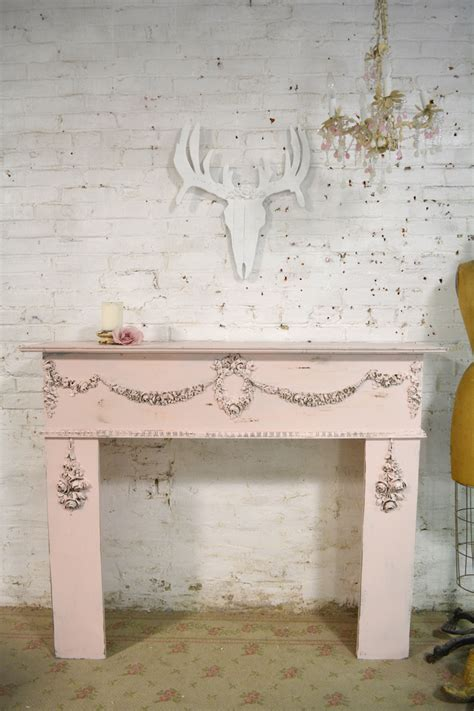 shabby chic fireplace mantels painted cottage chic shabby pink fireplace mantle