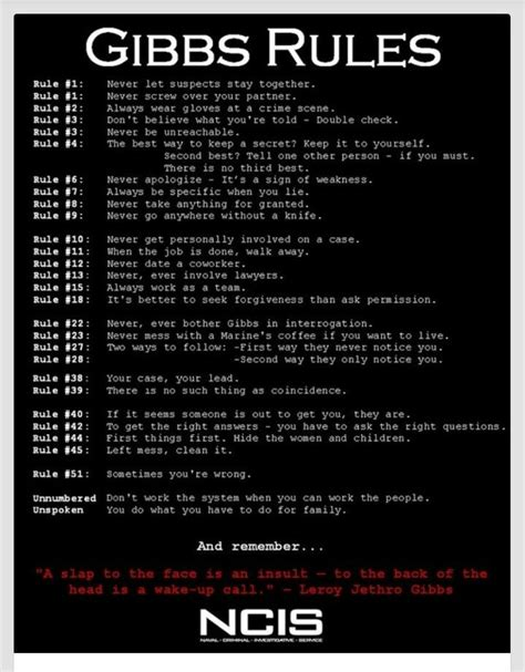 gibbs rules complete list gibbs rules quotes quotesgram