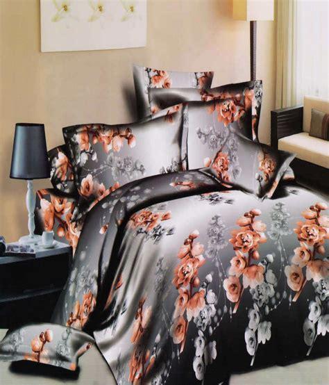 3d home decor majesty home decor 3d silver flower print double bedsheet