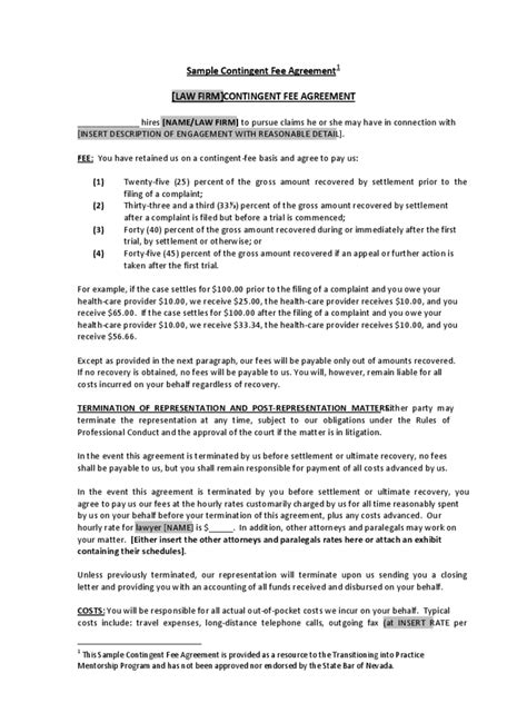 fee agreement template contingency fee agreement form 7 free templates in pdf