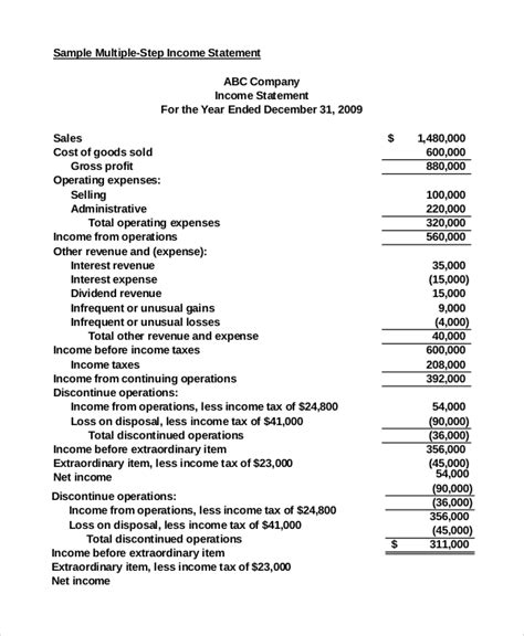 7 Sle Income Statement Exles Sle Templates Multi Step Form Template