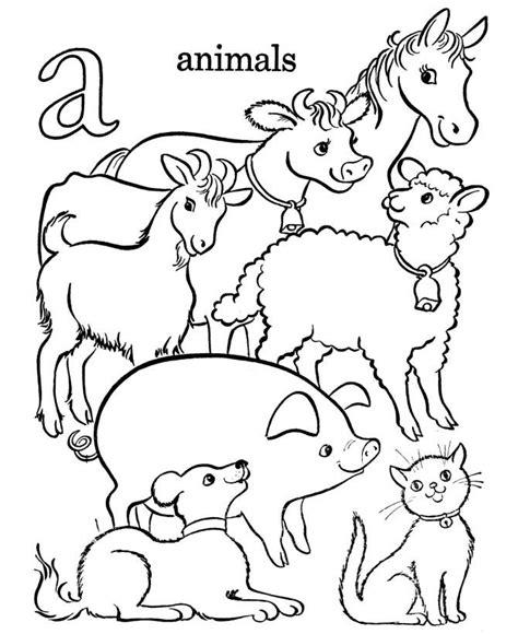 printable animal sheets free coloring pages of preschool farm animals