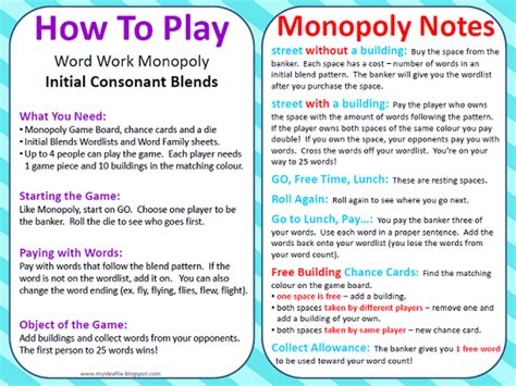 how to play my idea file word work monopoly is here