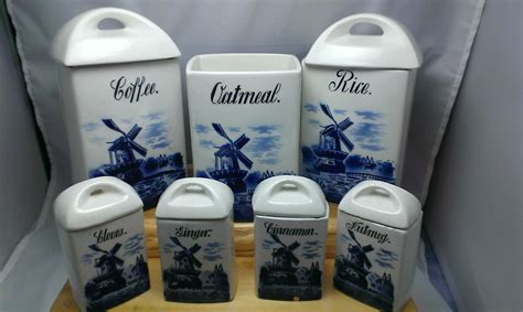 Vintage Ceramic Kitchen Canisters by Vintage Delft Blue Transferware Ceramic Canister Set Made