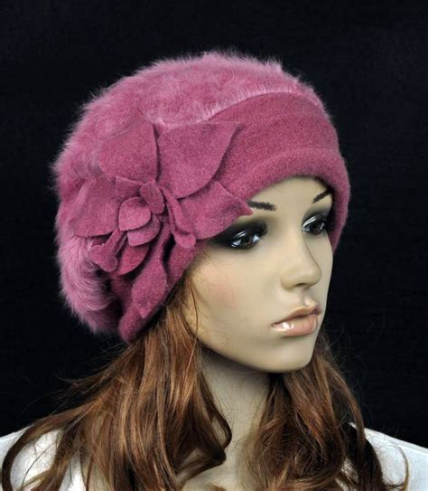 jm32 rabbit fur wool s winter hat beanie cap