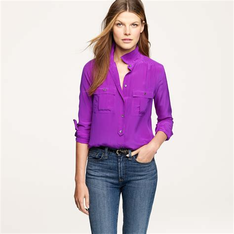 Flats Import Gucci Floral 50609 lyst j crew blythe blouse in silk in purple