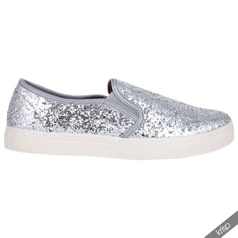 womens glitter sneakers floral glitter slip on plimsolls trainers