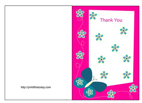 Thank You Card Template To Print Free by Butterfly Baby Shower Thank You Cards Free Printable